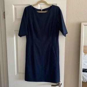 Navy 3/4 length sleeve shift dress from Tahari